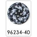 Bouton bleu avec des fleurs - 30mm
