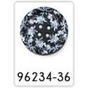 Bouton bleu avec des fleurs - 25mm