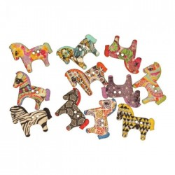 Painted wood button 30mm Horse