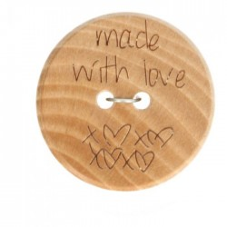 "Wood ""Made with Love.."" - 20mm"